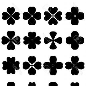 Four Leaf Clover Vector Art Black And White: Photostock Vector Outline Silhouettes Of Four Leaf Clover Vector