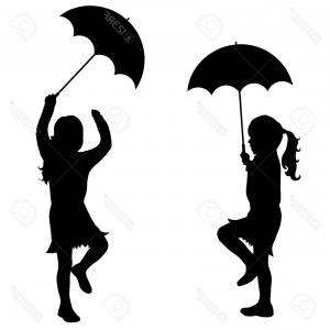 Umbrella Vector Black: Photostock Vector Black Vector Silhouette Of Girl With Umbrella