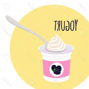 Yogurt Vector: Photostock Vector Blackberry Yogurt Healthy Cream Milk Product In Plastic Container With Spoon Flat Vector Style