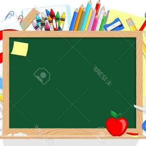 Individual School Supplies Vector: Photoselection Of Various Individual School Supplies On A White Background