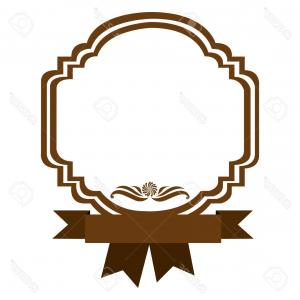 Ribbon Vector Image Of Border: Photostock Vector Brown Border Heraldic Decorative With Ribbon Vector Illustration