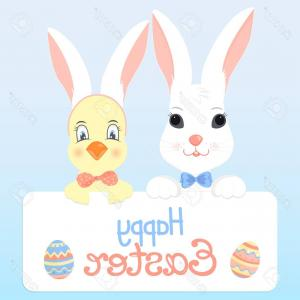 Vector RabbitEars: Photostock Vector Bunny And A Chick With Rabbit Ears Happy Easter