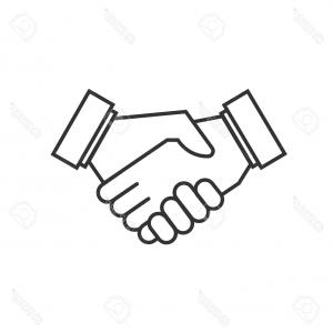 Handshake Vector Art: Stock Illustration Icon Handshake Vector Black White Background Image