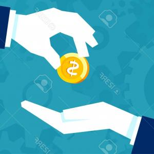 Vector Retro Man Flipping Coin: Photostock Vector Businessman Gives Man A Gold Coin Transfer Of Cash From Hand To Hand Financial Concept Of Borrowing