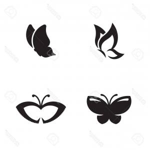 Butterfly Vector Logo: Photostock Vector A Butterfly Vector Logo Isolated On Plain Background