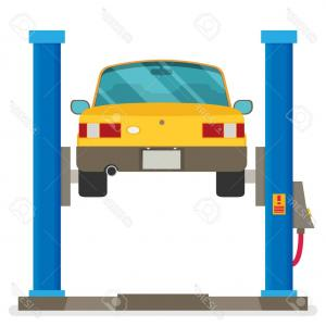 Lift Drag And Vectors: Photostock Vector Car Repair Car Lifted On Auto Lift Vector