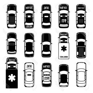 Taxi Transportation Vector: Photostock Vector Car Top View Vehicle Automobile Transportation Vector Black Icons Ambulance And Police Taxi