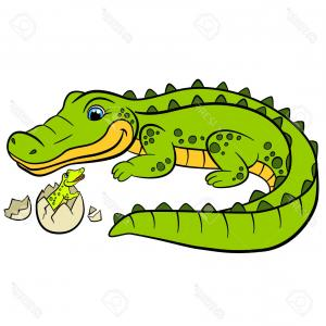 Vector The Crocodile Baby: Photostock Vector Cartoon Animals For Kids Mother Alligator Looks At Her Little Cute Baby Alligator In The Egg