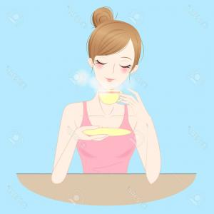 Teas Drinks Vector: Photostock Vector Cartoon Beauty Woman Drink Tea Or Coffee