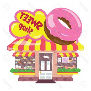 Candy Shop Vector: Stock Illustration Vector Modern Candy Shop Detailed