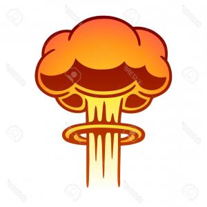 Atomic Vector Coud: Nuclear Blast With Mushroom Cloud Vector Clipart
