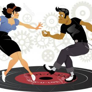 Vinyl Roll Vector: Photostock Vector Cartoon Rockabilly Couple Dancing On A Vinyl Record Gears On The Background Esp Vector Illustratio