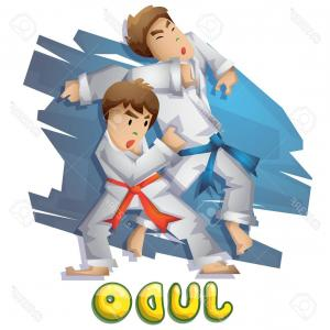 Judo Throw Vector Graphics: Photostock Vector Cartoon Vector Judo Sport With Separated Layers For Game And Animation Game Design Asset