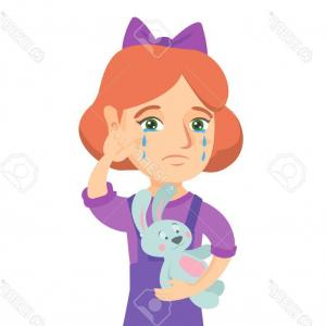 Vector Tear Away: Photostock Vector Caucasian Girl Crying And Wiping The Tears Away Little Girl Crying And Holding Toy Rabbit In Hand Ve