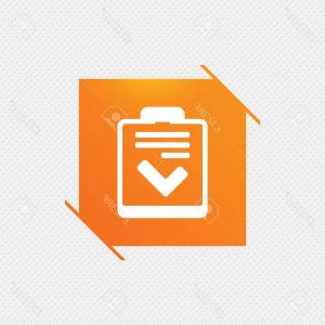 Symbol For Vector Control: Photostock Vector Checklist Sign Icon Control List Symbol Survey Poll Or Questionnaire Feedback Form Orange Square Lab