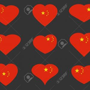 Chinese Flag Vector: Photostock Vector China Hearts With Chinese Flag Vector Illustration