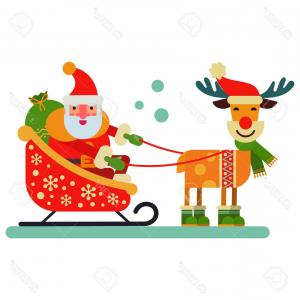 Reindeer Santa Claus Vector: Photostock Vector Christmas Cute Reindeer Santa Claus Character Vector New Year Illustration Of Deer Animal For Sleigh