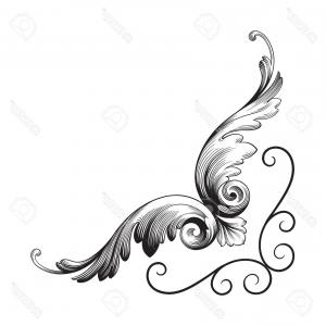 Classical Tail Vector: Photostock Vector Classical Baroque Of Vintage Element For Design