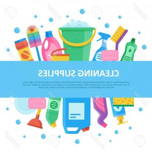 Janitorial Vector: Photostock Vector Cleaning Janitorial Supply Product Set With Central Lettering Professional Sanitizing Equipment For
