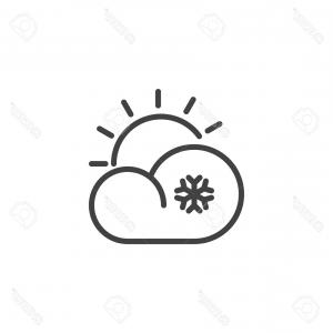Cloud Outline Vector Black And White: Cloud And Snow Icon Outline Style Vector