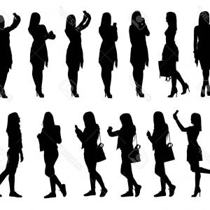 Young Woman Silhouette Vector: Vector Young Women Silhouette Glasses Phone