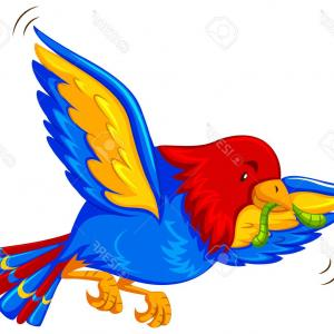 Bird Flying Vector Art: Photostock Vector Colorful Bird Flying With Worm In Mouth Illustration