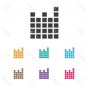 Frequency Icon Vector: Photostock Vector Technology Transmitting Signal Wave Oscillation Radio Frequency Logo Icon Set