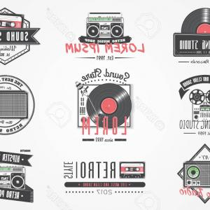 Old Logos Vector Graphics: Photostock Vector Colorful Vintage Labels Invitation Retro Music Logo Music Store Hipster Style Detailed Elements Old