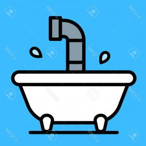 Periscope Logo Vector: Photostock Vector Conceptual Cartoon Bathtub With A Periscope Rising Above The Water From A Submersible Craft Over A B
