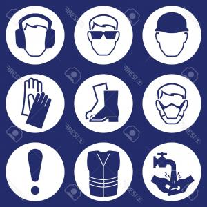 Construction Safety Goggles Vector: Photostock Vector Construction Industry Health And Safety Icons Isolated On Blue Background