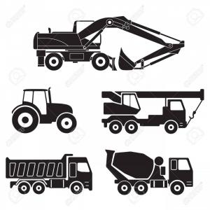Cars Vector Clip Art Collections: Photostock Vector Construction Trucks Icons Set Isolated On White Background Vector Collection Of Heavy Equipment Conc