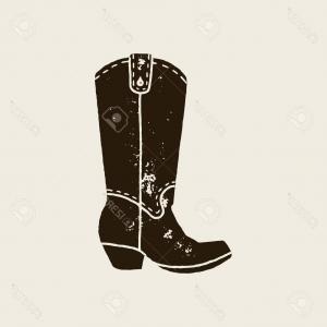 Vectors Country Boots: Photostock Vector Cowboy Boots Silhouette In Retro Style