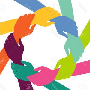 Hand With Ring Silhouette Vector: Photostock Vector Creative Colorful Ring Of Hands Teamwork Concept