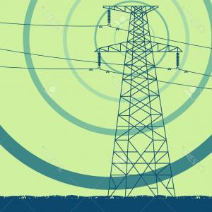 Parallel Electric Field Vector: Photostock Vector Creative Concept Of A Voltage Power Line Tower With Electromagnetic Field Vector Background
