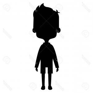 Little Boy Silhouette Vector: Photostock Vector Vector Illustration Of Little Kid With Outstretched Arms