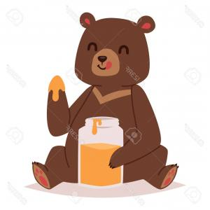 Happy Bear Mascot Vector: Photostock Vector Cute Cartoon Bear Emotions Icon Brown Character Happy Smiling Bear Eating Hunney Drawing Mammal Tedd