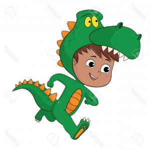 Vector The Crocodile Costume: Photostock Vector Cute Kid Put Up A Dragon Costume In Halloween Party Vector And Illustration