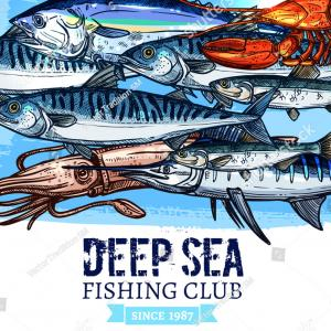 Deep Sea Fishing Vectors: Photostock Vector Deep Sea Fish Icon Angler Sign Vector Illustration