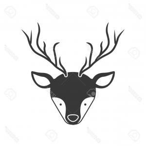 Horns Silhouette Vector: Photostock Vector Deer Animal Face With Horns Silhouette Vector Illustration