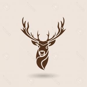 Vector Buck Print: Photostock Vector Deer Head Animal Symbol Lemblem Or Sticker For Branding Printing Sports Team Vector Illustration