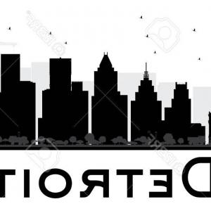 Vector Building Detroit: Detroit Skyline Monochrome Silhouette Vector Illustration Gm