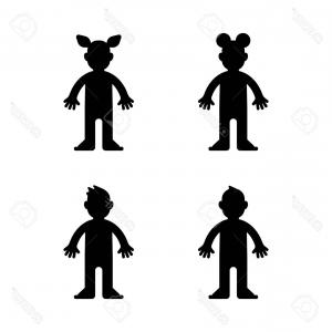 Little Boy Silhouette Vector: Photostock Vector Cute And Little Boy Flying A Kite Silhouette Vector Illustration Design