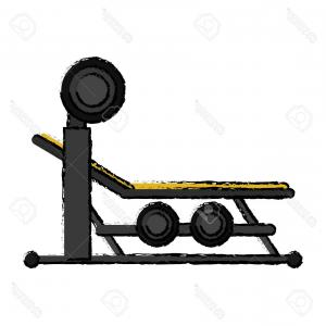 Vector Barbell Press: Photostock Vector Drawing Brench Press With Weight Barbell Sport Vector Illustration Eps
