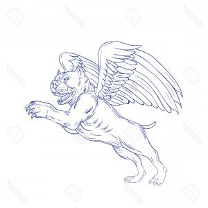Vector Of Angel Art Dog: Photostock Vector Drawing Sketch Style Illustration Of An American Bully Dog With Angel Wings Prancing Jumping Viewed