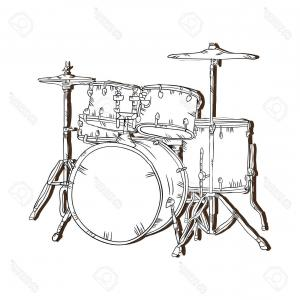 Drum Vector Art: Photostock Vector Drum Set Musical Instrument Traditional Music Element Vector Illustration