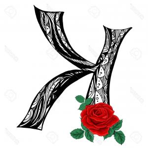 Family Initials Vector Art: Photostock Vector Elegant Capital Letter K In The Style Of The Doodle Black And White Pattern With Scarlet Roses To Us
