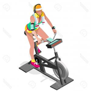 Indoor Cycling Bike Vector: Vector Illustration Cartoon Flat Old Woman