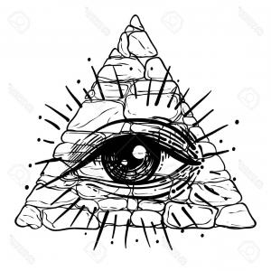 Pyramid With Eye Of Providence Vector: Photostock Vector Vector All Seeing Eye Pyramid Symbol Tattoo Design Vintage Hand Drawn Freedom Spiritual Occultism An