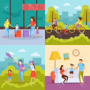Family Of 4 Vectors: Photostock Vector Family Free Time Activities Orthogonal Icons Concept With Vacation Travel Outdoor Cycling Home Tog