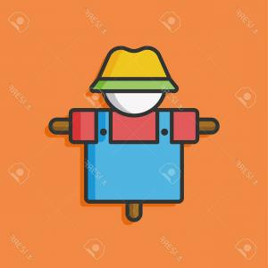 Scarecrow Vector: Photostock Vector Farm Scarecrow Vector Icon